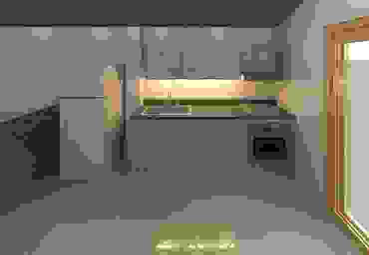 Cocina sencilla render 3D de Cosmoservicios SAS Moderno Aglomerado