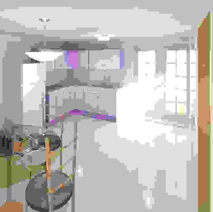cocina colores render 3D de Cosmoservicios SAS Moderno Aglomerado
