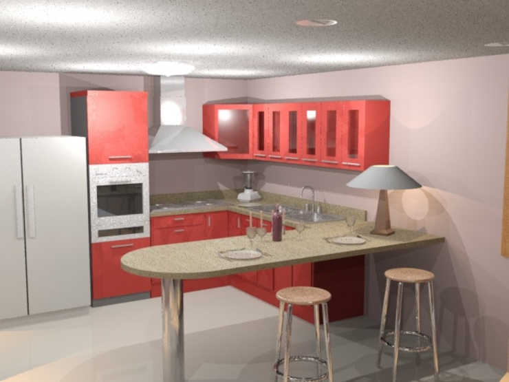 Cocina roja render 3D: Cocinas integrales de estilo  por Cosmoservicios SAS, Moderno Aglomerado