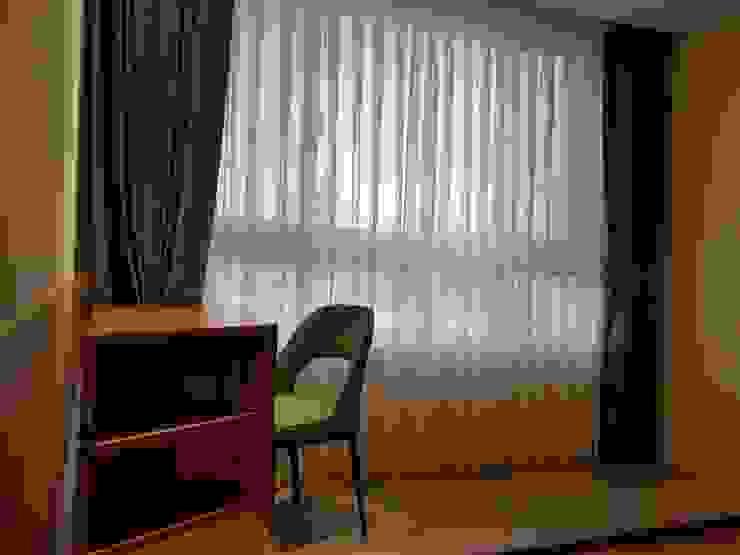 雙層窗簾 现代客厅設計點子、靈感 & 圖片 根據 homify 現代風