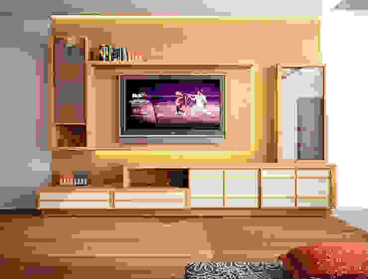 tv panel ruang keluarga Ruang Keluarga Gaya Asia Oleh Livint design Asia Kayu Lapis