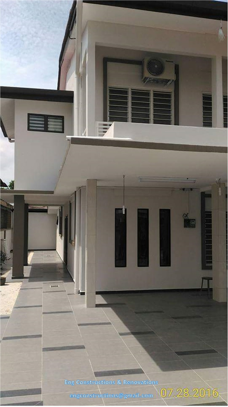 Asian style corridor, hallway & stairs by Sam Contractors Ipoh Asian