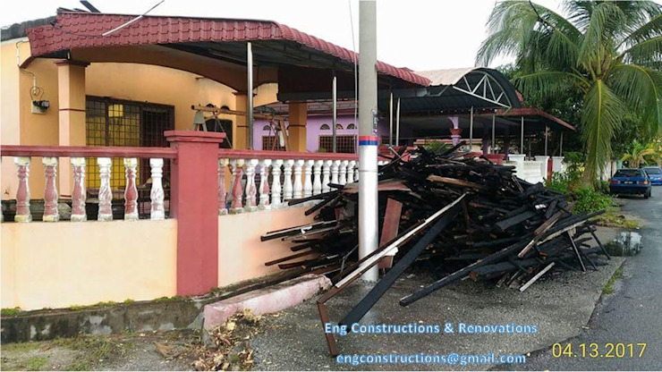 Fire Insurance Claim Sam Contractors Ipoh Asian style balcony, porch & terrace