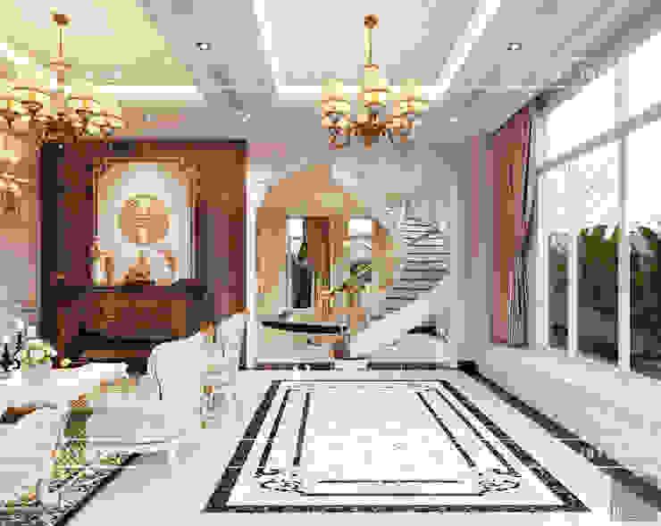 Thiết kế nội thất biệt thự phong cách tân cổ điển sang trọng Phòng khách phong cách kinh điển bởi ICON INTERIOR Kinh điển