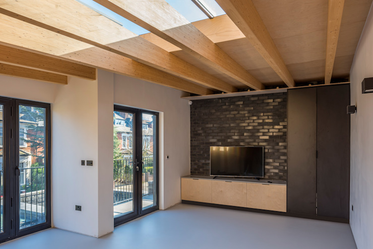Cross Laminated Timber beams :  Living room by The Crawford Partnership, Modern