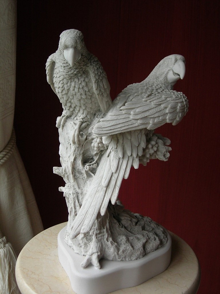 Figurine of Parrots The Ancient Home ArtworkSculptures Marble White