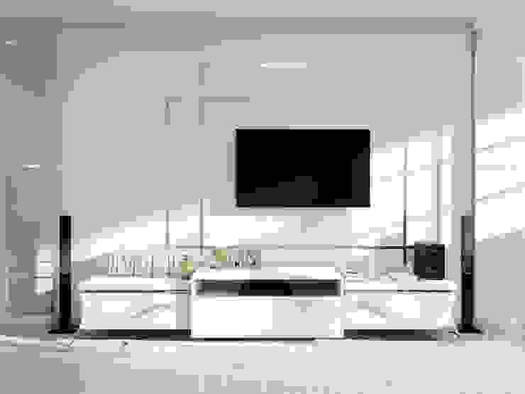 ДизайнМастер Ruang Keluarga Gaya Eklektik Grey