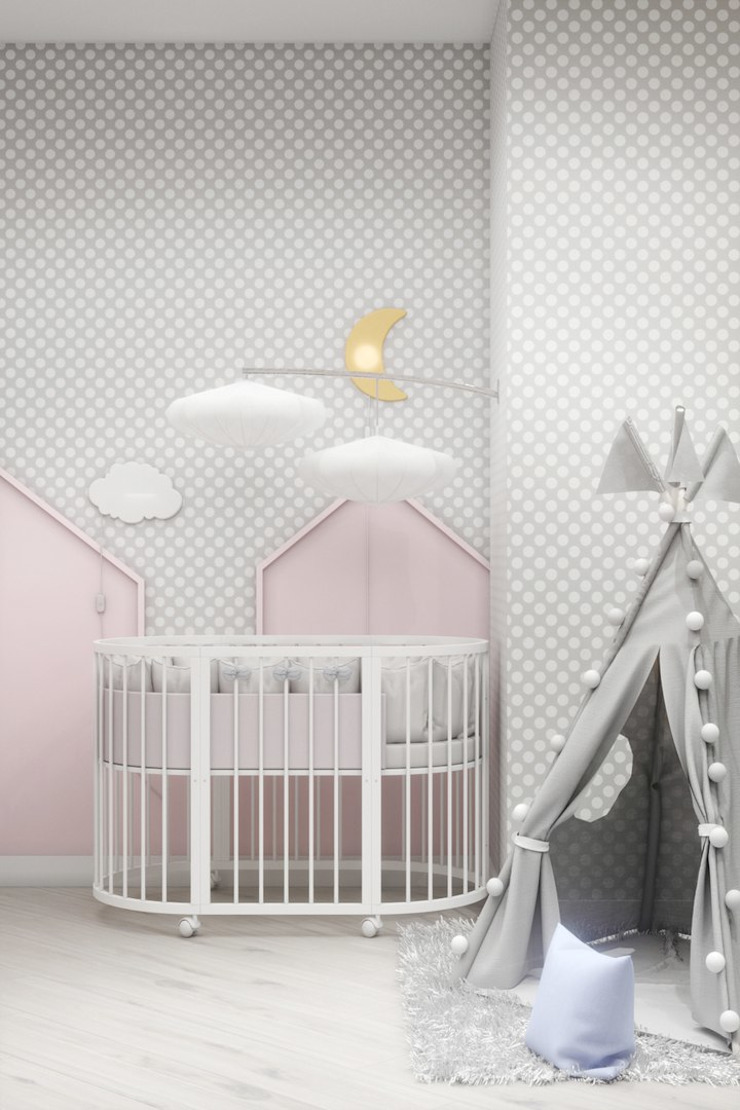 ДизайнМастер Kamar Bayi/Anak Gaya Eklektik Grey