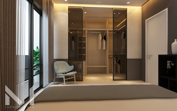 Master walk in wardrobe paneling Modern style dressing rooms by Muse Studio Modern