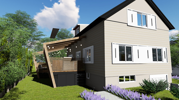 Fachada lateral e deck Studio² Casas familiares