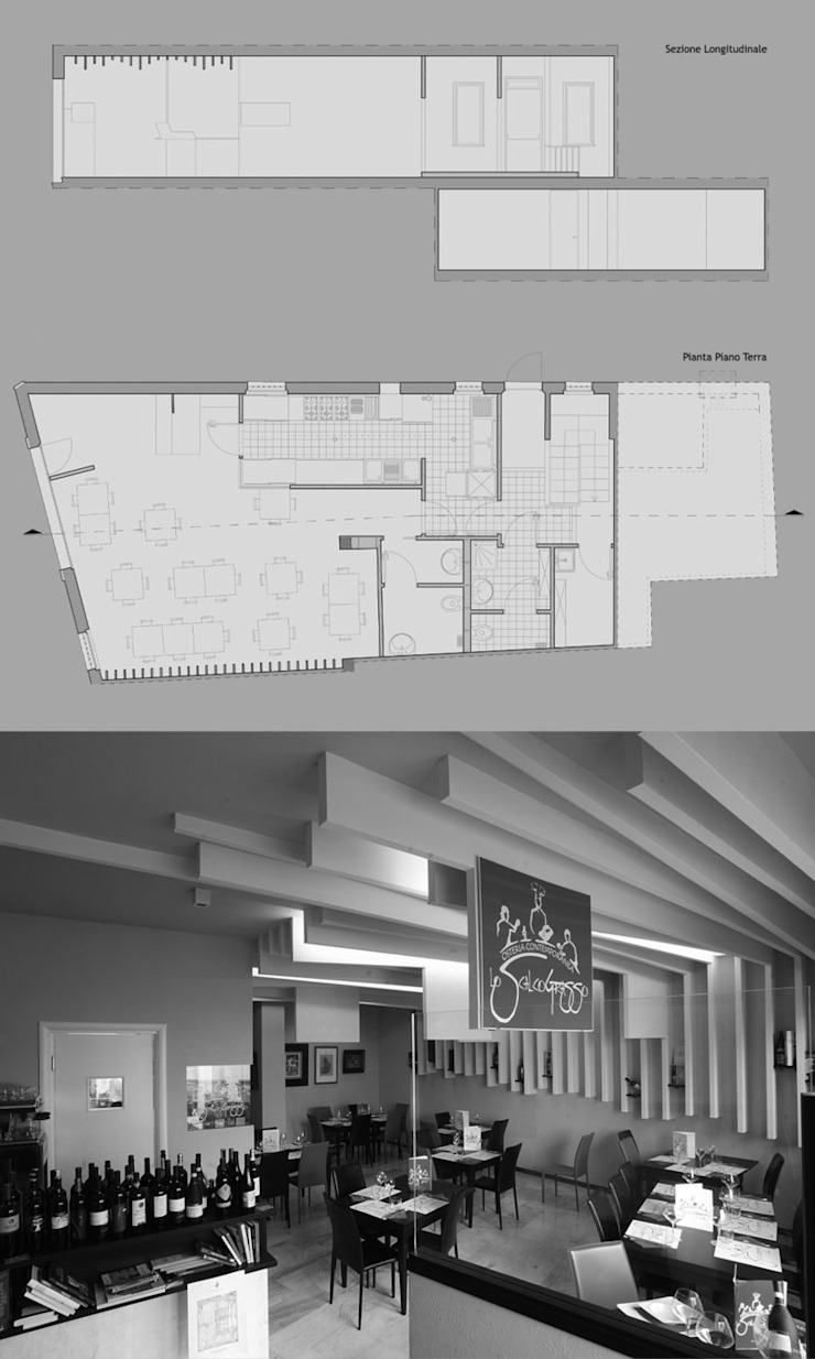 """"""" Lo Scalco Grasso""""- Osteria Contemporanea Negozi & Locali commerciali moderni di Studio di Architettura IATTONI Moderno"""