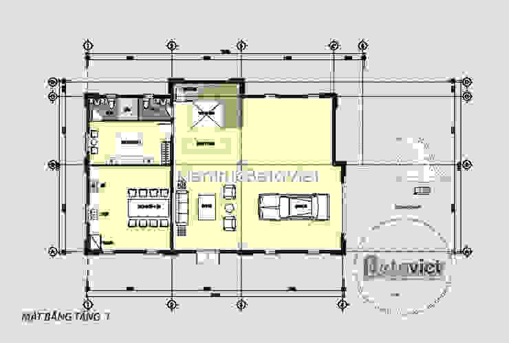 Mặt bằng tầng 1 mẫu dinh thự đẹp 3 tầng Cổ điển hoành tráng (CĐT: Ông Hùng - Quảng Ninh) KT18018 bởi Công Ty CP Kiến Trúc và Xây Dựng Betaviet