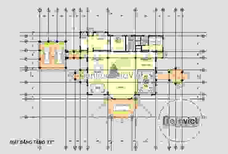 Mặt bằng tầng 1 mẫu thiết kế lâu đài dinh thự đẹp 3 tầng Tân cổ điển (CĐT: Ông Lượng - Hà Nội) KT16123 bởi Công Ty CP Kiến Trúc và Xây Dựng Betaviet