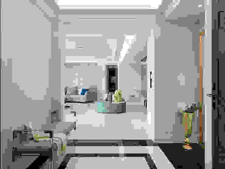 桃園中悅麗舍花園 法式優雅實品屋 經典風格的走廊,走廊和樓梯 根據 ACE 空間制作所 古典風