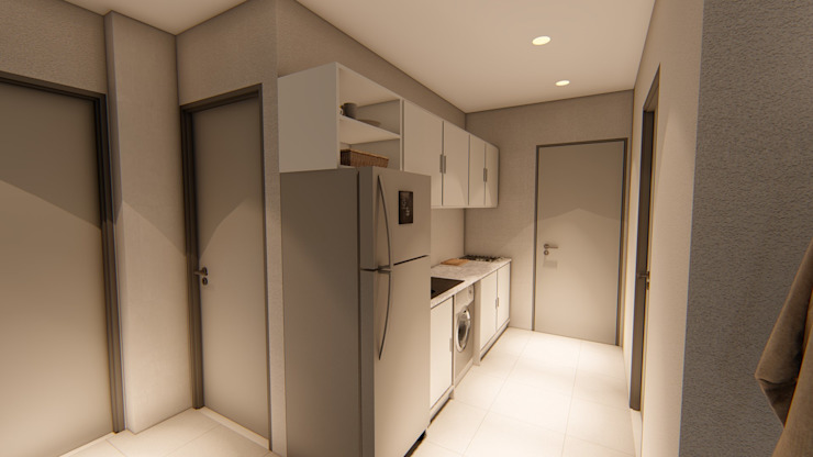 Apartment kitchen:   by Blunt Architects