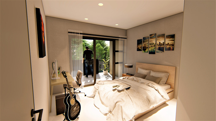 Apartment bedroom :   by Blunt Architects
