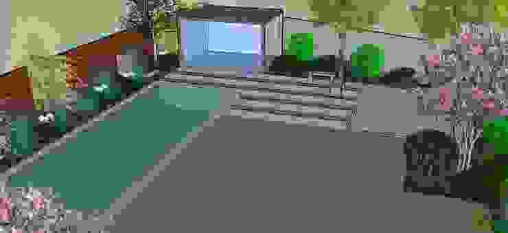 Detalle 3D de piscina y gimnasio requerido por clientes Jardines de estilo moderno de Aliwen Paisajismo Moderno