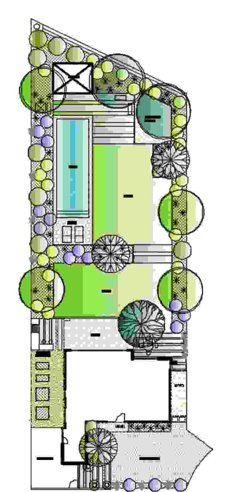Plano Autocad a color. Jardines de estilo moderno de Aliwen Paisajismo Moderno