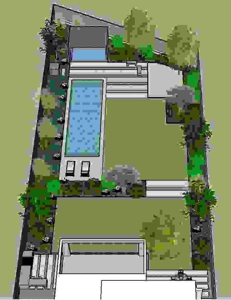Imagen 3D, vista general patio posterior Jardines de estilo moderno de Aliwen Paisajismo Moderno