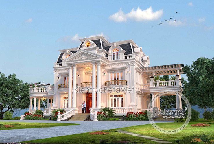 Phối cảnh mẫu lâu đài dinh thự đẹp Tân cổ điển đẹp lung linh (CĐT: Ông Nguyện - Phú Thọ) KT17115 bởi Công Ty CP Kiến Trúc và Xây Dựng Betaviet