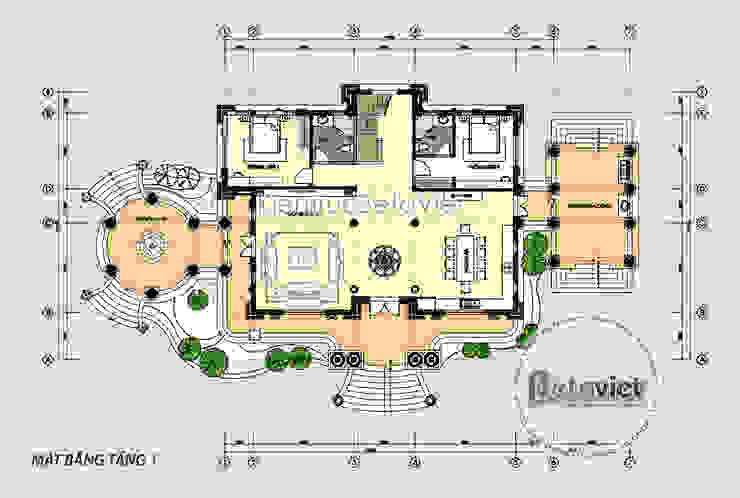 Mặt bằng tầng 1 mẫu lâu đài dinh thự đẹp Tân cổ điển đẹp lung linh (CĐT: Ông Nguyện - Phú Thọ) KT17115 bởi Công Ty CP Kiến Trúc và Xây Dựng Betaviet