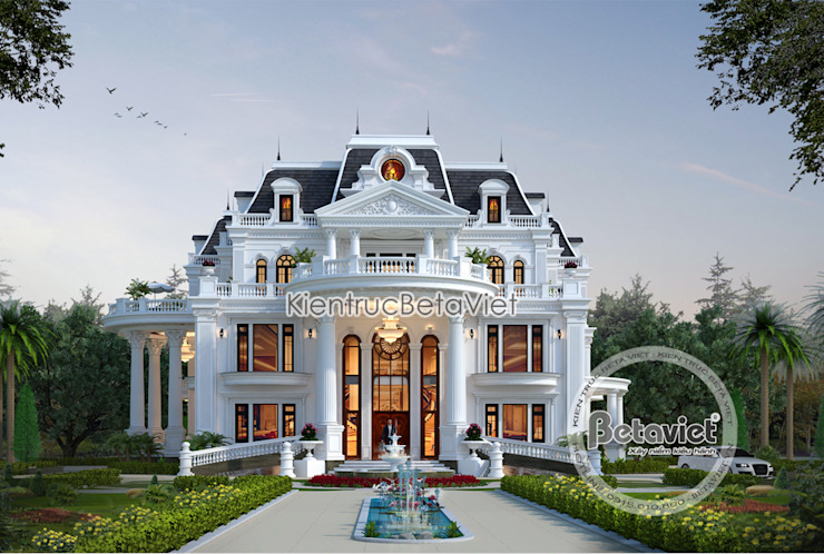 Phối cảnh mẫu dinh thự kiểu Pháp đẹp lung linh hoành tráng (CĐT: Bà Thúy - Bình Dương) KT18020 bởi Công Ty CP Kiến Trúc và Xây Dựng Betaviet