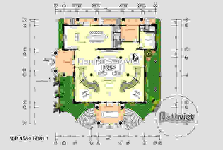 Mặt bằng tầng 1 mẫu dinh thự kiểu Pháp đẹp lung linh hoành tráng (CĐT: Bà Thúy - Bình Dương) KT18020 bởi Công Ty CP Kiến Trúc và Xây Dựng Betaviet