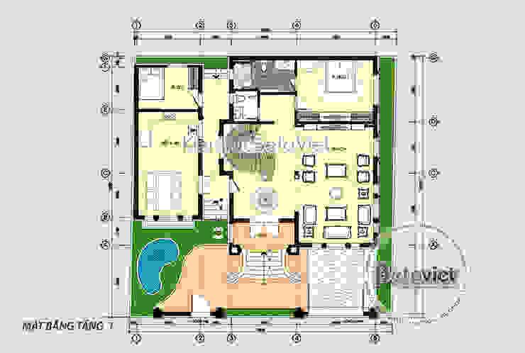 Mặt bằng tầng 1 mẫu biệt thự 3 tầng Tân cổ điển đẹp hoành tráng (CĐT: Ông Tuân - Thái Nguyên) KT18014 bởi Công Ty CP Kiến Trúc và Xây Dựng Betaviet