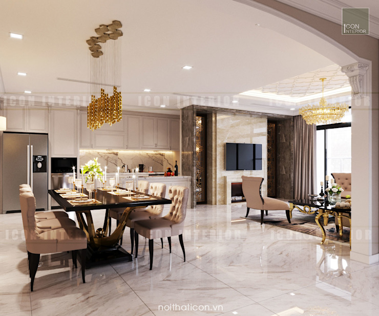 Thiết kế nội thất phong cách Tân Cổ Điển: Nội thất chất lượng - Cuộc sống đẳng cấp Phòng ăn phong cách kinh điển bởi ICON INTERIOR Kinh điển