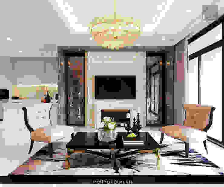 Thiết kế nội thất phong cách Tân Cổ Điển: Nội thất chất lượng – Cuộc sống đẳng cấp Phòng khách phong cách kinh điển bởi ICON INTERIOR Kinh điển
