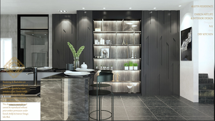 DINING WITH THE DRY KITCHEN Enrich Artlife & Interior Design Sdn Bhd Modern style kitchen Black