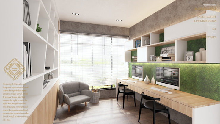 OFFICE:  Study/office by Enrich Artlife & Interior Design Sdn Bhd