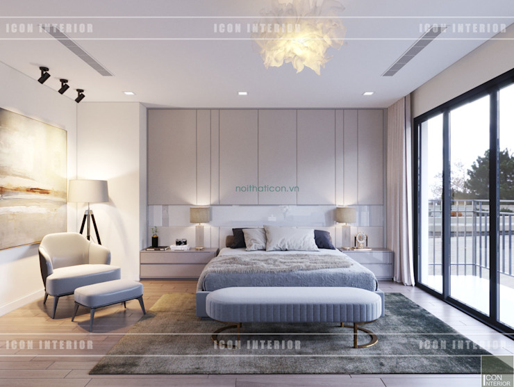 Thiết kế nội thất biệt thự Nine South – Tinh tế đến từng chi tiết nhỏ! Phòng ngủ phong cách hiện đại bởi ICON INTERIOR Hiện đại