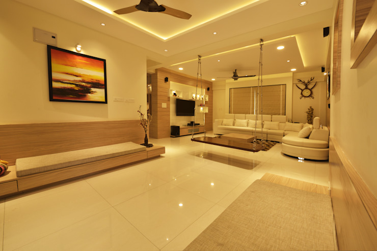 Mr Swapnil Choudhary Modern living room by GREEN HAT STUDIO PVT LTD Modern Plywood