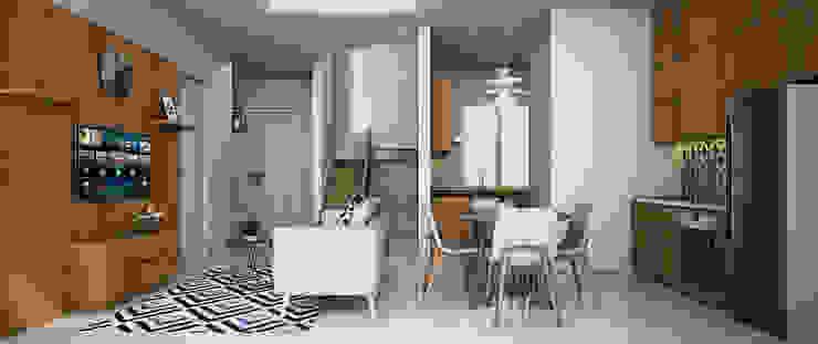 Ruang Makan dan Livingroom Oleh Vivame Design