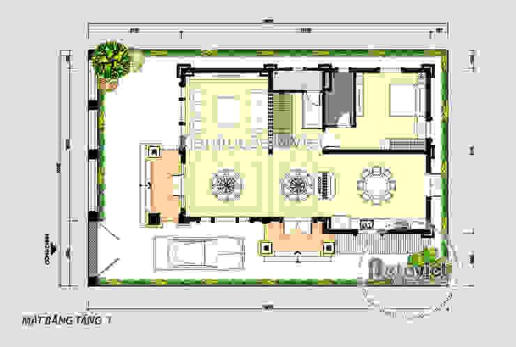 Mặt bằng tầng 1 mẫu thiết kế biệt thự đẹp 3 tầng Tân cổ điển (CĐT: Ông Dũng - Bắc Ninh) KT18033 bởi Công Ty CP Kiến Trúc và Xây Dựng Betaviet