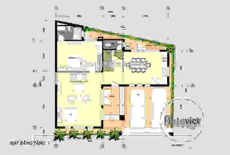 Mặt bằng tầng 1 mẫu thiết kế biệt thự mái bằng 3 tầng Hiện đại đẹp (CĐT: Ông Long - Vĩnh Phúc) KT18037 bởi Công Ty CP Kiến Trúc và Xây Dựng Betaviet