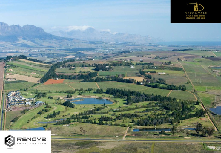 Aerial view of the Devonvale Golf and Wine Estate: modern  by Renov8 CONSTRUCTION, Modern