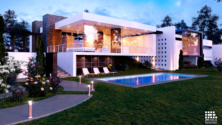 3h arquitectos Garden Pool Glass White