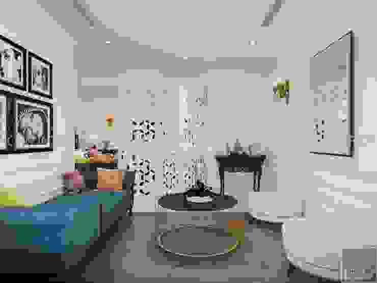 NGÔI NHÀ NUÔI DƯỠNG TÌNH YÊU – Thiết kế căn hộ ấn tượng tại Vinhomes Central Park Phòng khách phong cách kinh điển bởi ICON INTERIOR Kinh điển