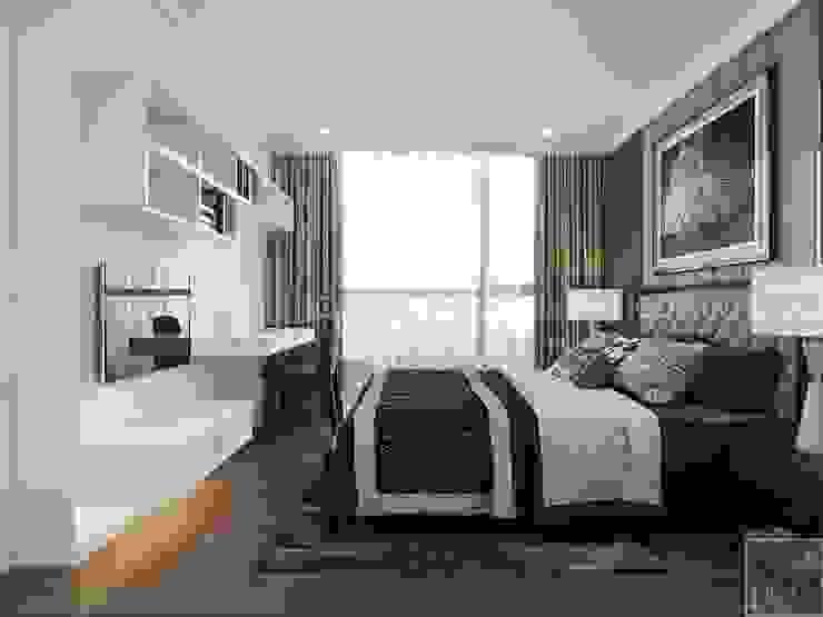 NGÔI NHÀ NUÔI DƯỠNG TÌNH YÊU – Thiết kế căn hộ ấn tượng tại Vinhomes Central Park Phòng ngủ phong cách kinh điển bởi ICON INTERIOR Kinh điển
