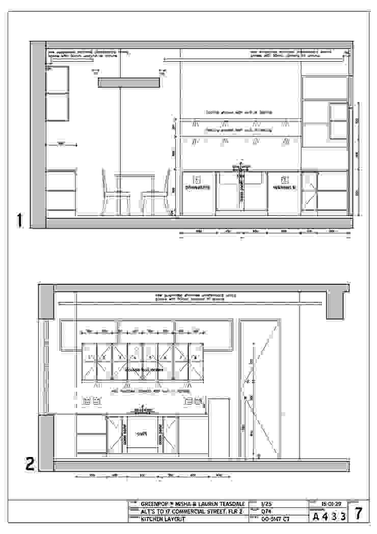 kitchen elevation drawings Modern kitchen by Till Manecke:Architect Modern