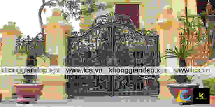 Mẫu cổng nhôm đúc biệt thự với họa tiết hoa văn đẹp bởi Không Gian Đẹp XYZ