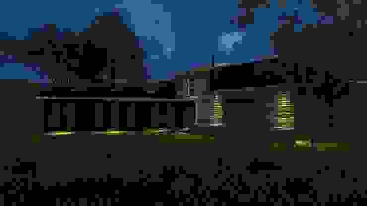 Render fachada nocturna de Constructora Rukalihuen Rural Madera Acabado en madera