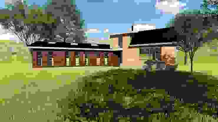 Render fachada luz día Constructora Rukalihuen Villas Madera Acabado en madera