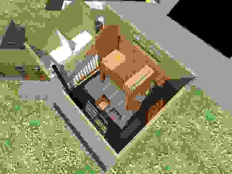 Render vista aérea Constructora Rukalihuen Villas Madera Acabado en madera