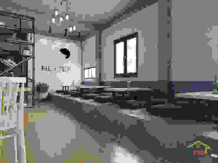 Khu vực ngồi bệt của quán trà sữa bởi Home Office Bắc Âu