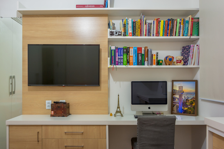 Joana Rezende Arquitetura e Arte Modern Study Room and Home Office