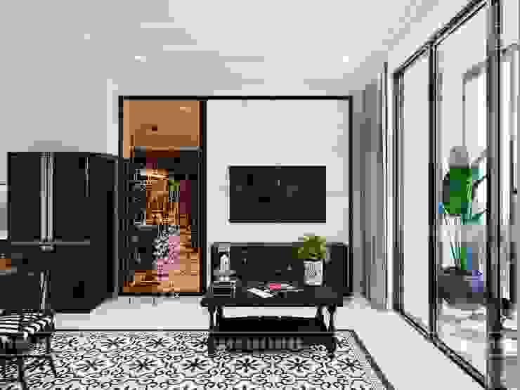Thiết kế căn hộ Vinhomes Golden River - Phong cách thiết kế mang tiếng vọng xưa Phòng khách phong cách châu Á bởi ICON INTERIOR Châu Á