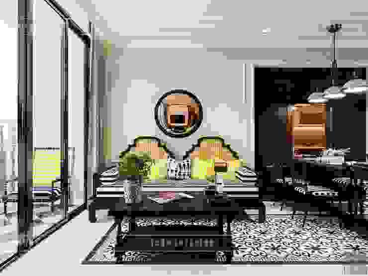 Thiết kế căn hộ Vinhomes Golden River – Phong cách thiết kế mang tiếng vọng xưa Phòng khách phong cách châu Á bởi ICON INTERIOR Châu Á